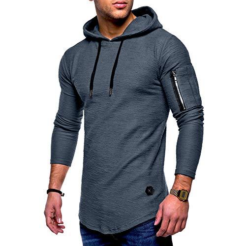 MRULIC Herren Kapuzenpullover Mittlere Saison Tops Oberbekleidung Pulli Warme Pullover Streetwear RH-012(Grau,EU-44/CN-M)