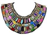 ALILANG Schwarz Tribal Große U geformt drapierte Multi Farben Regenbogen Wulstige Opulente Halskette