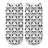 HNDDWZDB Calcetines Tobilleros 3D De Algodón Cortos Impresos En 3D Lindos Para Mujeres Calcetines De Oso Panda Animal Impresión De Moda Tobillo Bajo Divertido