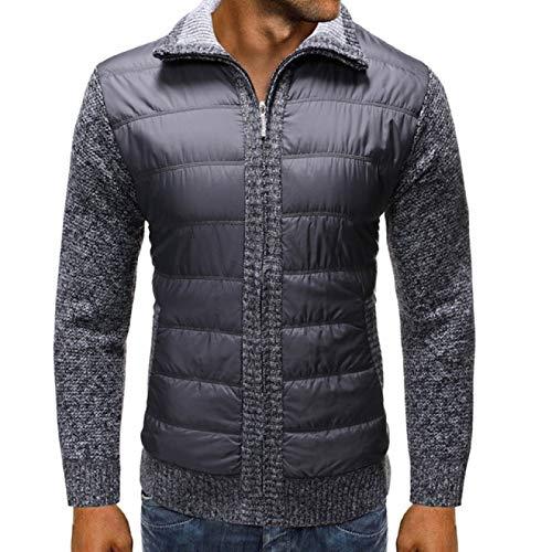 Chaqueta de Punto Regular con Costuras de Cuello Alto para Hombre, Abrigo de Bolsillo cálido de Manga Larga Ajustado a la Moda con Cremallera M