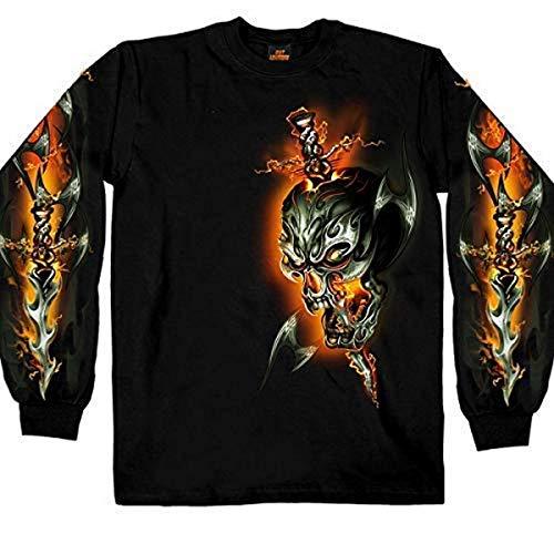 Hot Leathers Electric Skull Long Sleeve Biker T-Shirt (Black, X-Large)
