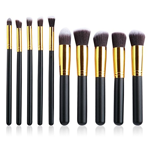 PrettyGal 10pcs Makeup Brush Set Cosmetics Foundation Blending Blush Eyeliner Face Powder Brush Makeup Brush Kit(Black+Gold) by PrettyGal