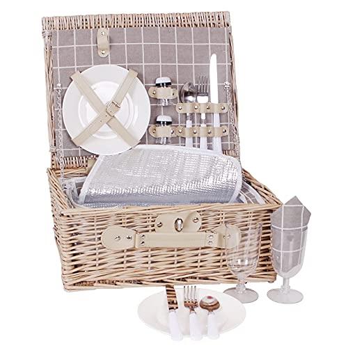 Weiden-Picknickkorb für 2 Personen | Weiden-Picknickkorb mit wasserdichter Decke, isoliertem Kühlfach und Geschirr-Set