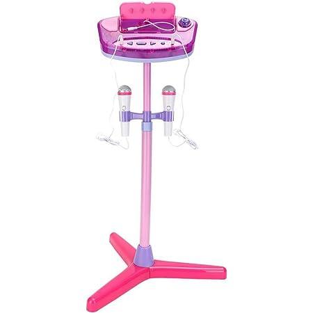 deAO Set de karaoké avec Deux Microphones, amplificateur, Prise Jack MP3 intégré et voyants (Rose)