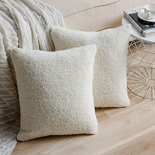 Anickal Set of 2 Cream White Decorative Luxury Faux Curly Wool Fur Pillow Covers 20x20 Inch product image