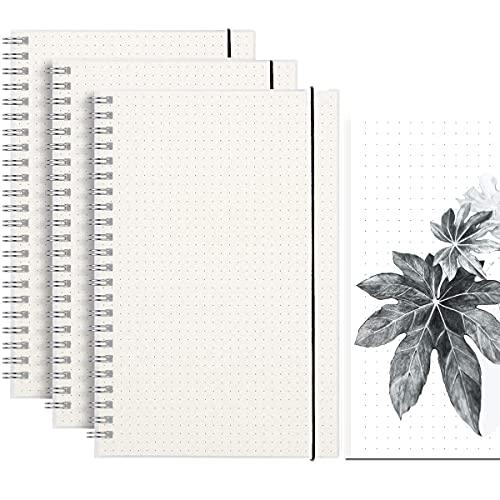 Notizbuch Dotted A5, Vakki 3 Stück Bullet Grid Journal Dot Spiral Notizheft mit Gummiband, 80g/㎡ Dickes Gepunktete Papier, 80 Seiten pro Notizbuch, geeignet