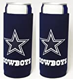 Football Team Color Logo Ultra Slim 12oz Beer Can Holder Insulator Coolers - 2-Pack (Dallas) Cowboys