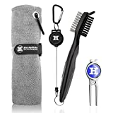 Handy Picks Microfiber Golf Towel (16' X 16') with Carabiner, Club Brush, Golf Divot Repair Tool with Ball Marker - Golf Accessories, Ideal for Golfers - 3 in 1 Golf Cleaning Kit (Pack of 3, Grey)