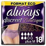 Always Discreet BoutiqueCulottes pour Incontinence, Fuites Urinaires, Taille M, Format Éco x18 Plusieurs Couleurs Disponibles, Mauve