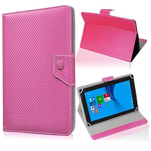 UC-Express Tablet Tasche für Medion Lifetab S10345 S10346 Hülle Schutzhülle Carbon Hülle Bag, Farben:Pink