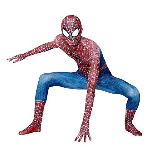 Kind Rot Blau Muskel Spiderman Kostüme 3D-Druck Cosplay Kostüm Anzug Bodysuit Verbundene Siamesische Enge Für Halloween Karneval Party Onesies Kostüm,Red Blue-Kids(90~100cm)