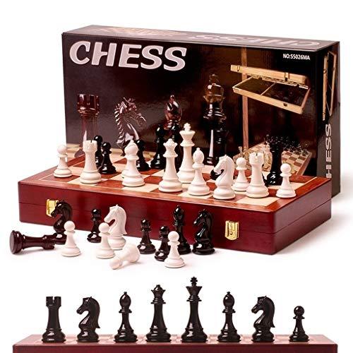 Xywh Ajedrez Plegable de Madera sólida Tablero de acrílico Brillante Negro Y Blanco Piezas de ajedrez Ajedrez Profesional Entretenimiento Accesorios Tablero de ajedrez Profesional