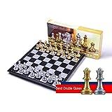 N / A Juego de ajedrez, Juego de Tablero de ajedrez Mini Plegable magnético de 9.8 Pulgadas, Juego de Mesa de plástico portátil Mediano, para niños/Adultos/Principiantes/competencias de Entrenamiento