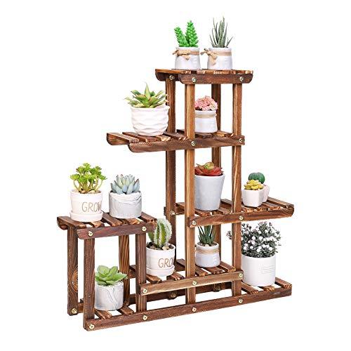 unho Estantería de Madera para Macetas, Mueble Plantas para Exterior Interior, Soporte para Suculentas con 6 Estantes, 60 x 11.5 x 61.5cm
