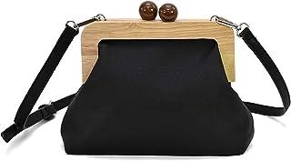 ショルダーバッグ ななめがけ がま口 女性 木製 クラッチバッグ 小さめ オールシーズン 4色