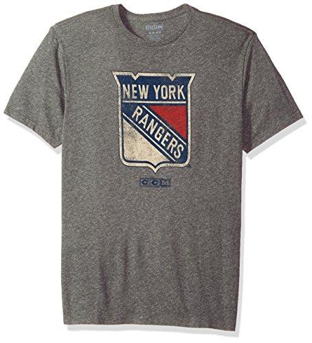 adidas Nueva York Rangers CCM Patrimonio Logotipo Premium Envejecido Tri-Blend T-Shirt