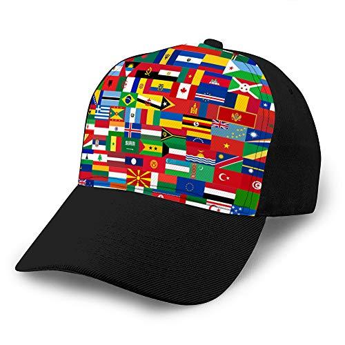 hyg03j4 Gorras de béisbol, Sombreros Militares, Sombreros de papá para el Día del Padre, el Juego de Regalo de Acción de Gracias Marca Todos los países en tamaño Ajustable