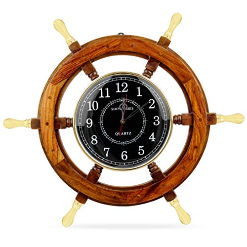 Nagina International 24' Wooden Ship Wheel Clock Boat Steering Wheel with Brass Handle Black Dial   Home Decor & Decorations   Pirate's Nursery Gift for Maritime