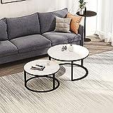 Nyyi Couchtisch 2er Set, Beistelltisch-Set rund, Moderne Sofatische, minimalistisch, Couchtische mit Schwarz Metallbeine, Tischkombination fürs Wohnzimmer, Balkon, klein Satztisch Set, Weiß