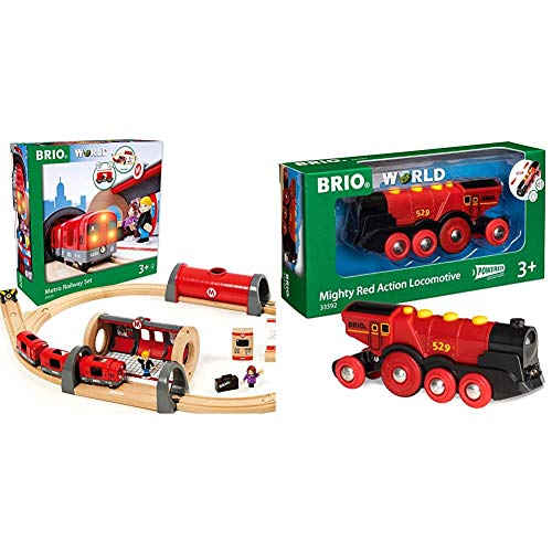 Brio 33513 Metro Railway Set | 20 Piece Train Toy with Accessories and Wooden Tracks for Kids Age 3 and Up & World 33592 Mighty Red Action Locomotive | Battery Operated Toy Train