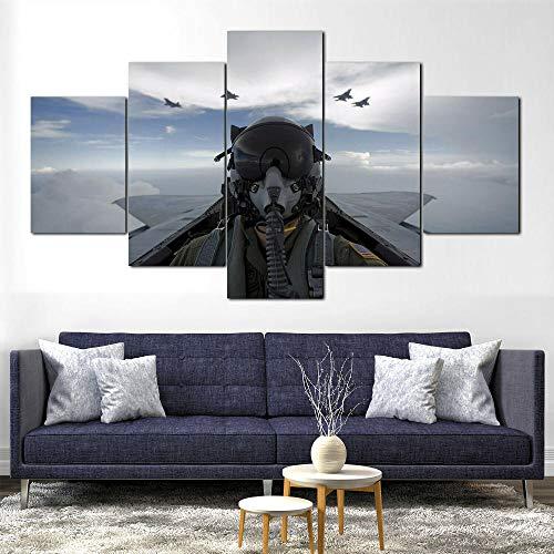 AWER 5 Piezas de Lienzo Arte Mural,Cabina piloto de avión F-15 Eagle,Cuadro geométrico Abstracto,HD Imagen Impresiones En Lienzo,decoración de Dormitorio,en un Marco