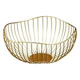 MACOSA Deko-Schale Dekokorb Metall Gold Moderne Design-Schale Metall -Korb Aufbewahrungskorb Küchenkorb Drahtkorb Gemüsekorb Obstkorb Obst-Schale - 3