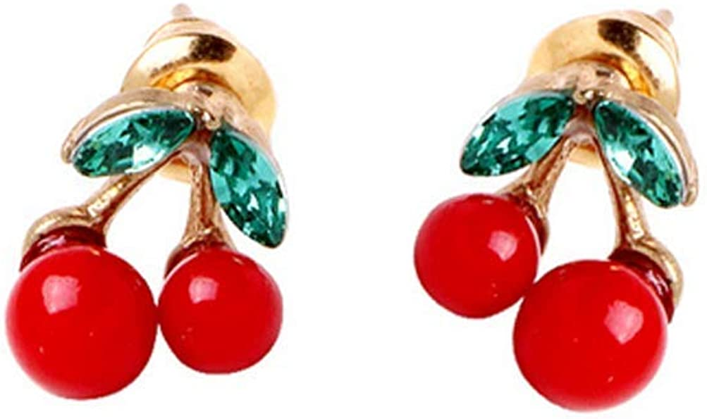 NIDEZHI Personalized Simple Cherry Earrings Alloy Hypoallergenic Earrings Drop Dangle Earrings