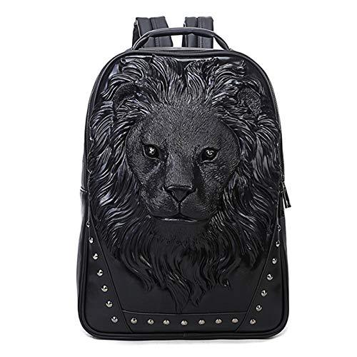 Mochila neutral del patrón 3D, mochila de cuero de la mochila de 3 maneras, bolsa, computadora portátil remaches impermeable a prueba de agua Mochila para la escuela de viajes para ,Negro,One Size