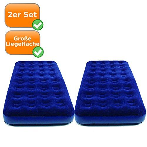 Set van 2 logeerbedden voor elk 1 persoon, ca. 191x99x22cm, groot campingbed, gastenmatras, koningsblauw