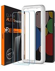 Spigen AlignMaster Screenprotector compatibel met Google Pixel 5, 2 stuks, Frame voor eenvoudige installatie, Case friendly, 9H gehard glas
