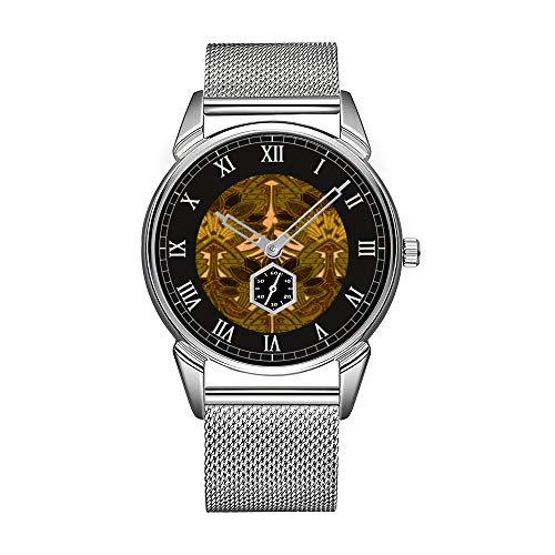 Mode herrenuhr Silber Edelstahl wasserdicht Uhr männer top Marke herrenuhr Uhr kaffeebohne und Blumenmuster Armbanduhr