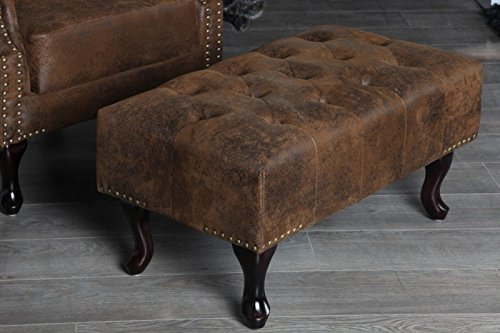 DuNord Design Hocker Fußhocker Chesterfield braun antik Look Design Sitzhocker England Look