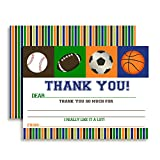 All Star Sports Birthday Thank You Notes for Kids, Ten 4' x 5.5' Fill In the Blank Cards with 10 White Envelopes by AmandaCreation