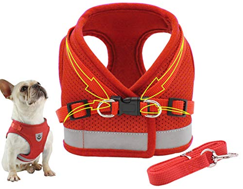 Dog Harness Step-in Dog Body Collar Soft Mesh Reflective Vest Harness Adjustable Straps for Puppy Cat Outdoor Red M