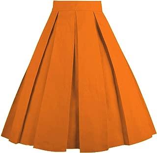 Vintage Pleated Skirt Floral A-line Printed Midi Skirts...