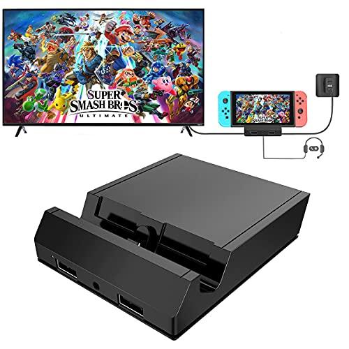 Switch Docking Station, KKUYI Switch Dock Kompakter Tragbares Switch Station für Nintendo Switch mit 4K HDMI, USB 3.0/2.0 Anschluss, Typ C Stromeingang und AUX 3,5mm