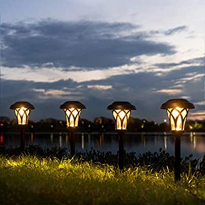 GIGALUMI 6 Pack Solar Pathway Lights, Warm White Solar Garden Lights, Waterproof Solar Landscape Lights for Lawn, Patio, Yard and Landscape