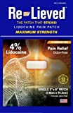 Re-Lieved, The Patch That Sticks, 4% Maximum Strength Lococaine Pain Relief Patch. Made in The USA, (31 Count)