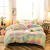 MorroMorn 5 PCS Shaggy Duvet Cover Bedding Set - Long Faux Fur Luxury Ultra Soft (Full/Queen, Rainbow)