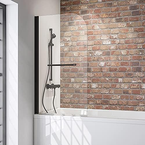 Schulte 80 x 140 cm Mampara ducha para bañera, 1 hoja plegable, perfil negro y cristal transparente, D1648-F 68 50