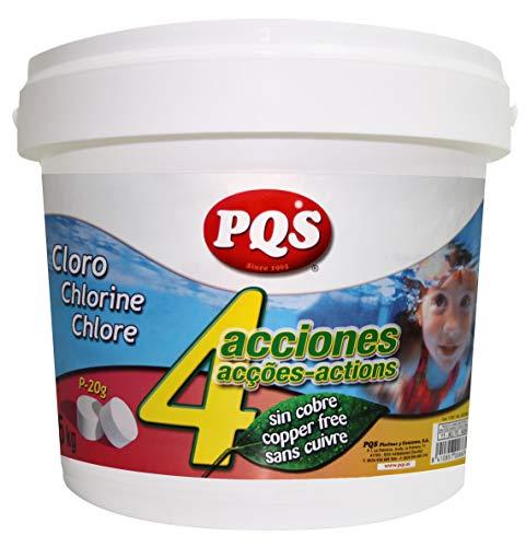 PQS Cloro 4 ACCIONES SIN Sulfato Cobre 5 KG Pastillas 20 Gramos