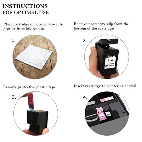 Cartlee Pack of 2 Black Remanufactured 61XL High Yield Ink Cartridges for HP Deskjet 1000 1010 1050 1510 1512 2000 2050 2510 2540 2542 2543 2549 3000 3050 Officejet 2622 4630 2620 4632 4635 Photo #6