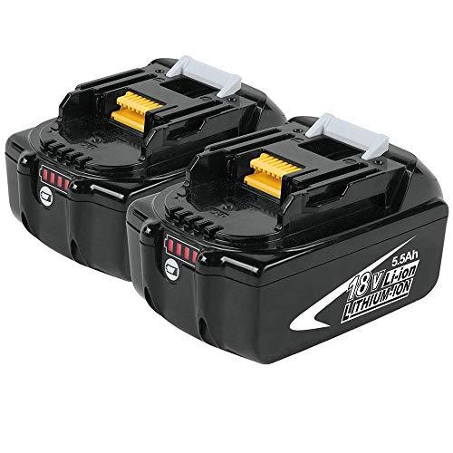 2x Boetpcr BL1860B 18V 5,5 Ah Lithium Packs de batterie remplacement pour Makita BL1860 BL1850B BL1840 BL1830 BL1820 BL1815 BL1825 BL1835 BL1845 LXT-400 avec LED indicateur