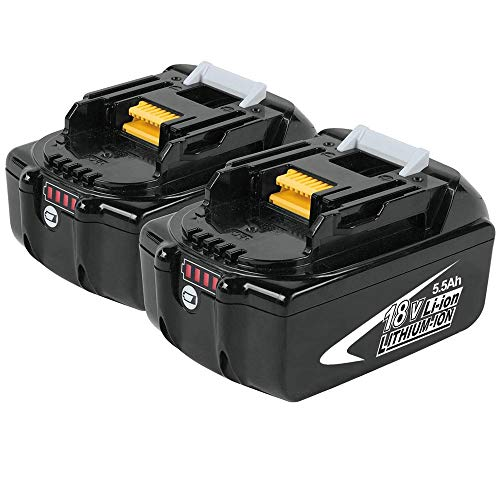 2x BL1860B 18V 5,5Ah Lithium Akku Ersatz für Makita BL1860B BL1860 BL1850B BL1850 BL1840B BL1840 BL1830B BL1830 BL1820 BL1815 BL1845 194204-5 LXT400 Werkzeugbatterien mit Indikator Boetpcr