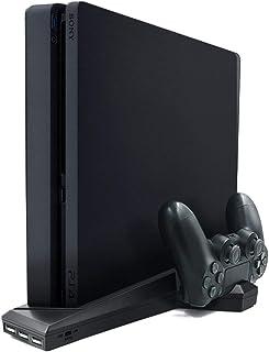 Kongqiabona-UK Soporte Vertical Delgado PS4 / PS4 con estación de Carga del Cargador del Controlador Dual del Ventilador de refrigeración para Sony Playstation