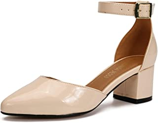 MAIERNISI JESSI Unisex Men's Women's Pumps Ankle Strap D-Orsay Pointed Toe Chunky Heel