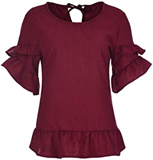 S-Fly Women Short Sleeve Loose Ruffle Plain Summer Casual Shirt Top Blouse