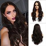 MEIRIYFA Peluca Marrón ondulada larga para mujer, Pelucas de cabello ondulado natural con parte media para uso diario cosplay de fiesta - 63 cm