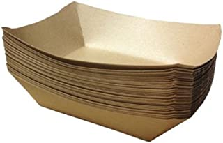 URPARTY –  Premium Brown Disposable Paper Food Serving Tray – 2.5 lb capacity..