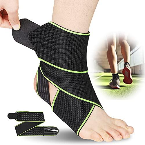 Ankle Brace for Men Women, One Size Ankle Brace Support for Plantar Fasciitis, Heel Brace for Heel Pain, Achilles Tendonitis, Breathable Nylon Ankle Brace for Running, Basketball, Injury Recovery(1 Pack)(Green)